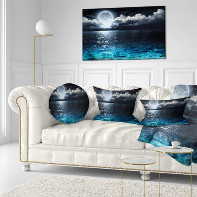 Romantic Full Moon over Sea Seascape Throw Pillow Size: 20 x 20