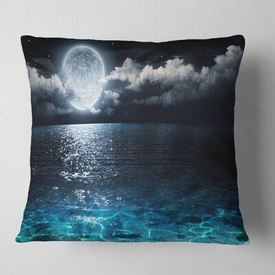 Romantic Full Moon over Sea Seascape Pillow Size: 18 x 18, Product Type: Throw Pillow