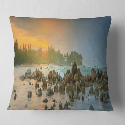 Romantic Untouched Beach Sunset Landscape Printed Pillow Size: 26 x 26, Product Type: Euro Pillow
