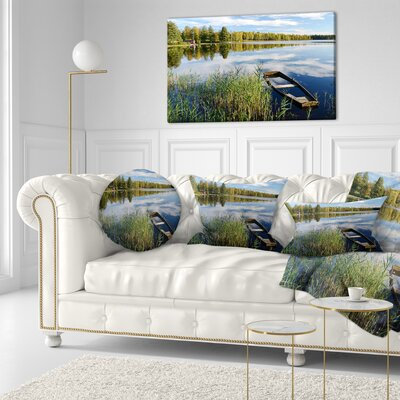 Beautiful Swedish September Lake Landscape Photography Throw Pillow Size: 20 x 20