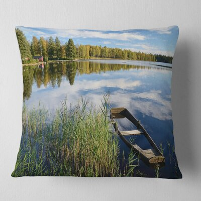 Beautiful Swedish September Lake Landscape Photography Pillow Size: 16 x 16, Product Type: Throw Pillow