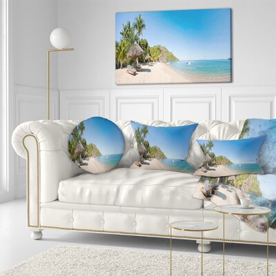 Beach with Chairs and Umbrellas Seashore Photo Throw Pillow Size: 20 x 20