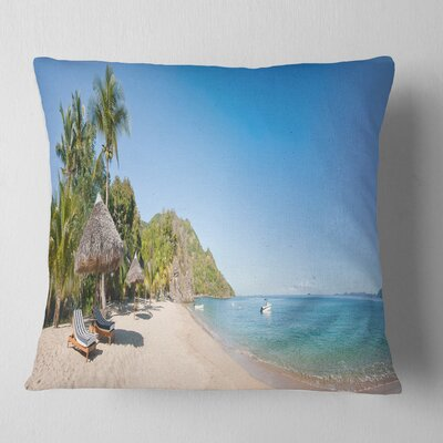 Beach with Chairs and Umbrellas Seashore Photo Pillow Size: 18 x 18, Product Type: Throw Pillow
