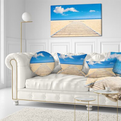 Beach and Sea with Wooden Floor Seashore Throw Pillow Size: 16 x 16