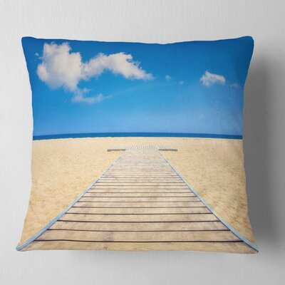 Beach and Sea with Wooden Floor Seashore Pillow Size: 18 x 18, Product Type: Throw Pillow
