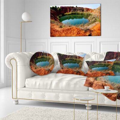 Bauxite Mine with Lake Landscape Photo Throw Pillow Size: 16 x 16