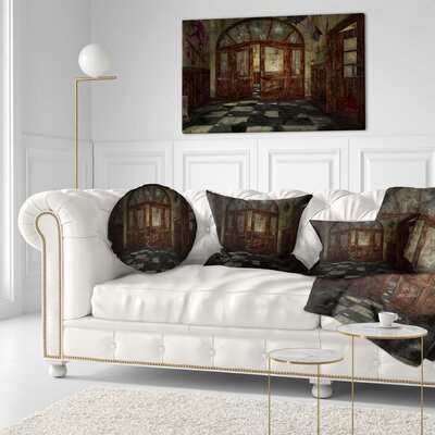 Abandoned Interior Landscape Painting Throw Pillow Size: 16 x 16