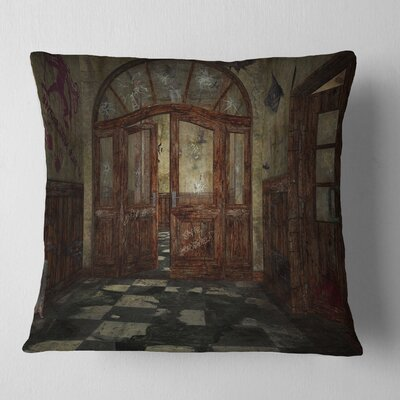 Abandoned Interior Landscape Painting Pillow Size: 16 x 16, Product Type: Throw Pillow