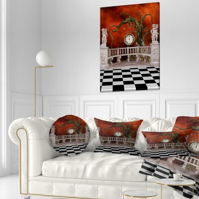 Balcony with Clock and Tree Angels Throw Pillow Size: 20 x 20