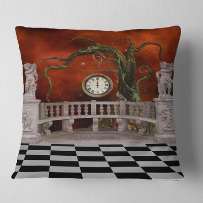 Balcony with Clock and Tree Angels Pillow Size: 18 x 18, Product Type: Throw Pillow