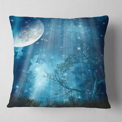 Big Moon in Forest Landscape Printed Pillow Size: 18 x 18, Product Type: Throw Pillow