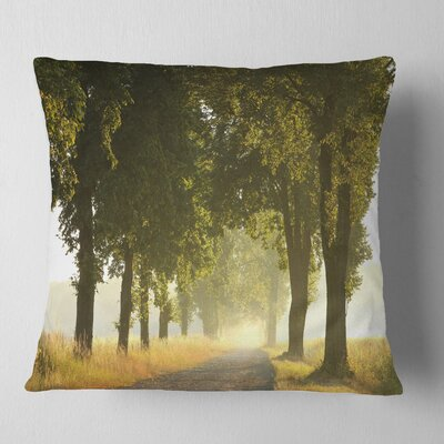 Country Road Below Trees Landscape Photo Pillow Size: 16 x 16, Product Type: Throw Pillow