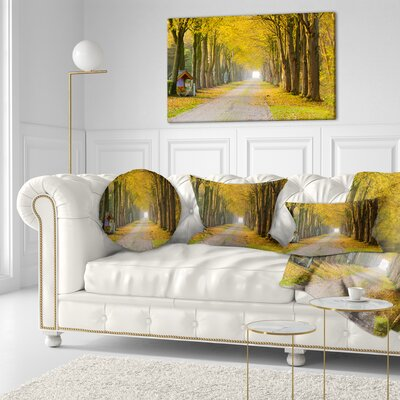 Country Road Below Trees Landscape Photography Throw Pillow Size: 20  x 20