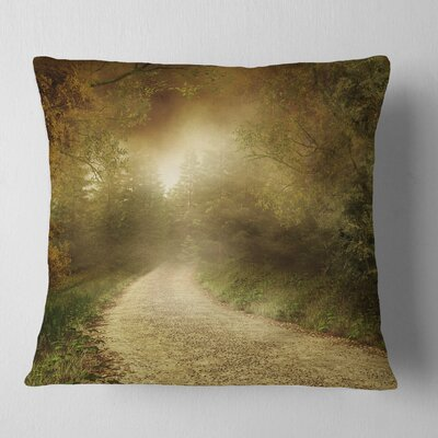 Country Road Through Fall Scenery Landscape Photography Pillow Size: 16 x 16, Product Type: Throw Pillow