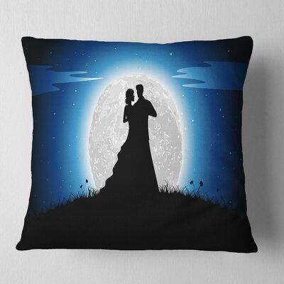 Couple Embrace in Night Romantic Pillow Size: 26 x 26, Product Type: Euro Pillow