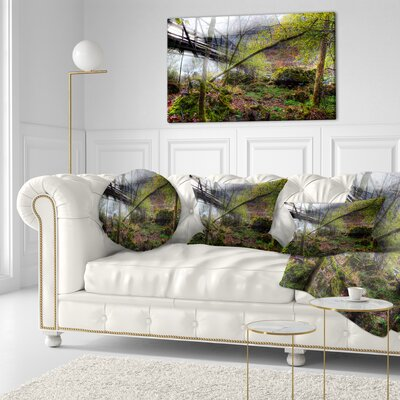 Creek and Bridge with Sunbeams Landscape Photography Throw Pillow Size: 20  x 20