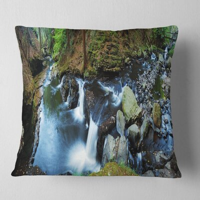 Creek with Hiking Trail Panorama Landscape Photography Pillow Size: 16 x 16, Product Type: Throw Pillow