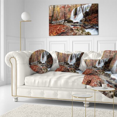 Crimea Waterfall in the Fall Landscape Photo Throw Pillow Size: 20  x 20