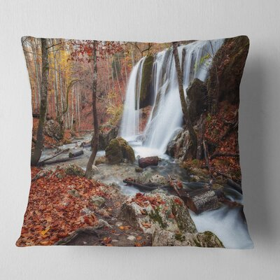 Crimea Waterfall in the Fall Landscape Photo Pillow Size: 18 x 18, Product Type: Throw Pillow