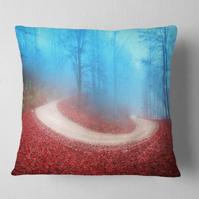 Curved Road in Autumn Forest Landscape Photo Pillow Size: 16 x 16, Product Type: Throw Pillow