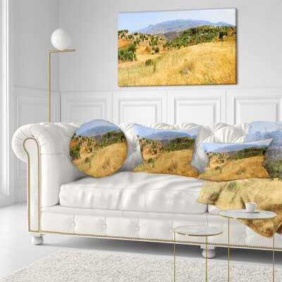 Cyprus Landscape Panoramic View Landscape Printed Throw Pillow Size: 16 x 16