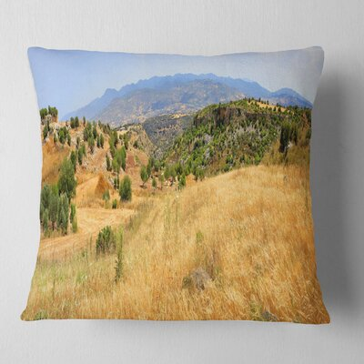 Cyprus Landscape Panoramic View Landscape Printed Pillow Size: 26 x 26, Product Type: Euro Pillow