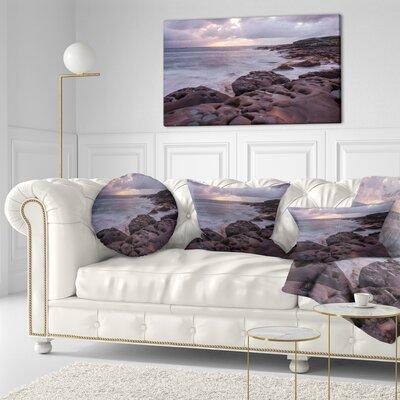 Australian Seashore with Large Rocks Seashore Throw Pillow Size: 20  x 20