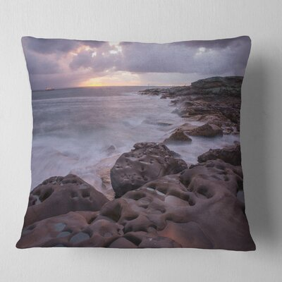 Australian Seashore with Large Rocks Seashore Pillow Size: 18 x 18, Product Type: Throw Pillow
