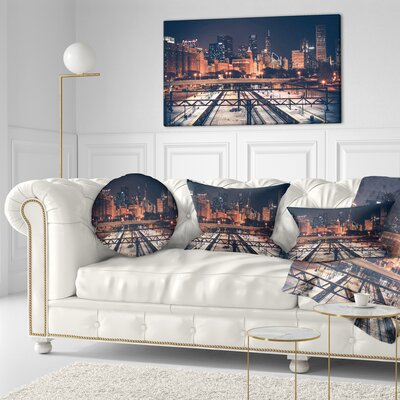 Chicago Skyline and Railroad Cityscape Throw Pillow Size: 20  x 20