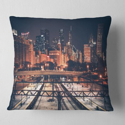 Chicago Skyline and Railroad Cityscape Pillow Size: 18 x 18, Product Type: Throw Pillow