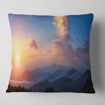 Cloudy Sky Above Mountains Landscape Photography Pillow Size: 16 x 16, Product Type: Throw Pillow