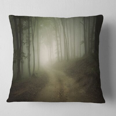 Fall Forest Road in Morning Landscape Photography Pillow Size: 26 x 26, Product Type: Euro Pillow