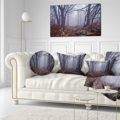 Foggy Forest in Autumn Landscape Photography Throw Pillow Size: 16 x 16