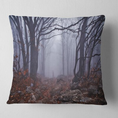 Foggy Forest in Autumn Landscape Photography Pillow Size: 18 x 18, Product Type: Throw Pillow