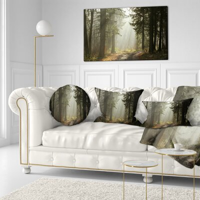 Forest with Sun Rays Landscape Photography Throw Pillow Size: 20  x 20