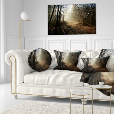 Path in Fall Foggy Forest Landscape Photography Throw Pillow Size: 16 x 16