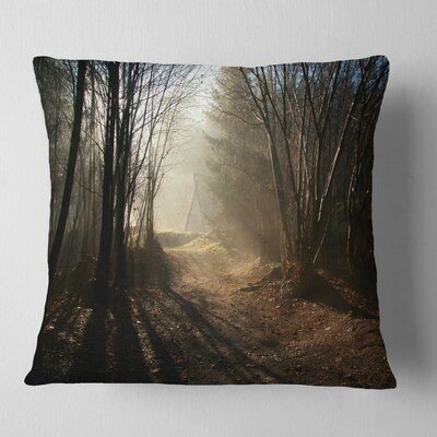 Path in Fall Foggy Forest Landscape Photography Pillow Size: 18 x 18, Product Type: Throw Pillow