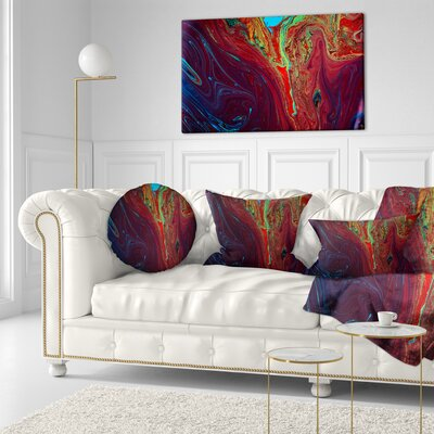 Abstract Acrylic Paint Mix Abstract Throw Pillow Size: 16 x 16