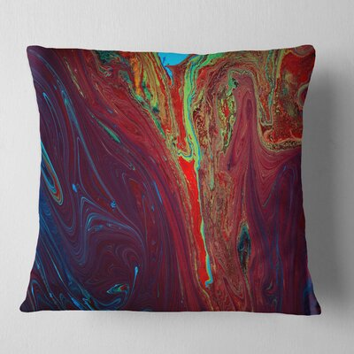 Abstract Acrylic Paint Mix Abstract Pillow Size: 18 x 18, Product Type: Throw Pillow