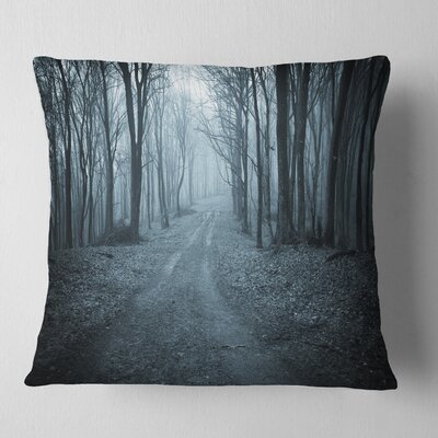 Scary Forest with Fog Landscape Photography Pillow Size: 26 x 26, Product Type: Euro Pillow