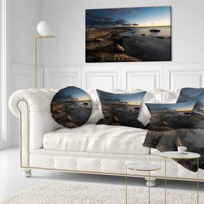 Sydney Coastline Seascape Throw Pillow Size: 16 x 16
