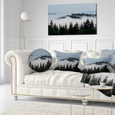 Trees and Fog over Mountains Landscape Printed Throw Pillow Size: 20  x 20
