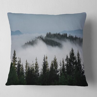Trees and Fog over Mountains Landscape Printed Pillow Size: 26 x 26, Product Type: Euro Pillow