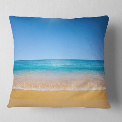View of Tropical Beach Seashore Photo Pillow Size: 26 x 26, Product Type: Euro Pillow