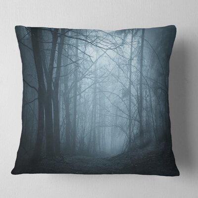 Darkness in Forest with Fog Landscape Photo Pillow Size: 26 x 26, Product Type: Euro Pillow