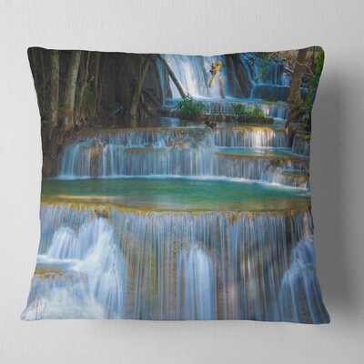 Deep Forest Waterfall Thailand Landscape Photography Pillow Size: 18 x 18, Product Type: Throw Pillow