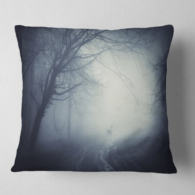 Deer on Road in Foggy Fall Night Landscape Photography Pillow Size: 16 x 16, Product Type: Throw Pillow
