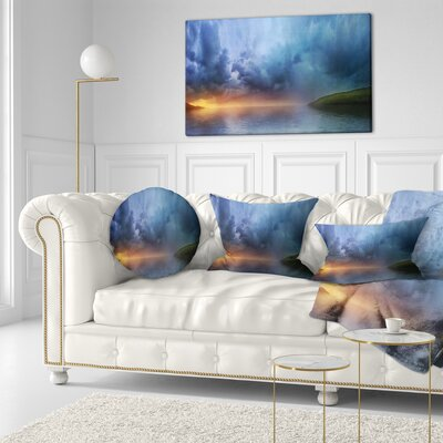 Dense Clouds over Lake Skyline Photography Throw Pillow Size: 20