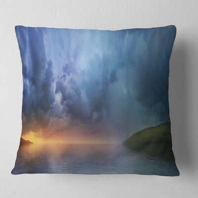 Dense Clouds over Lake Skyline Photography Pillow Size: 26