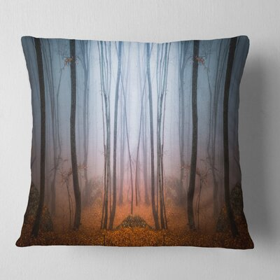 Dense Foggy Autumn Forest Landscape Photo Pillow Size: 16